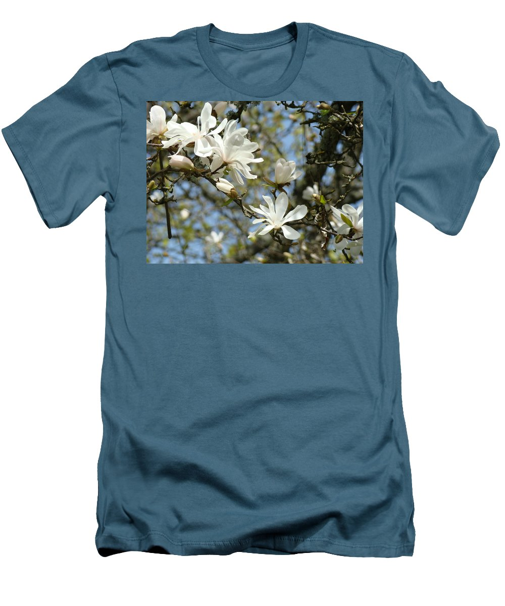 Magnolia Men's T-Shirt (Athletic Fit) featuring the photograph Office Art Prints Magnolia Tree Flowers Landscape 15 Giclee Prints Baslee Troutman by Baslee Troutman
