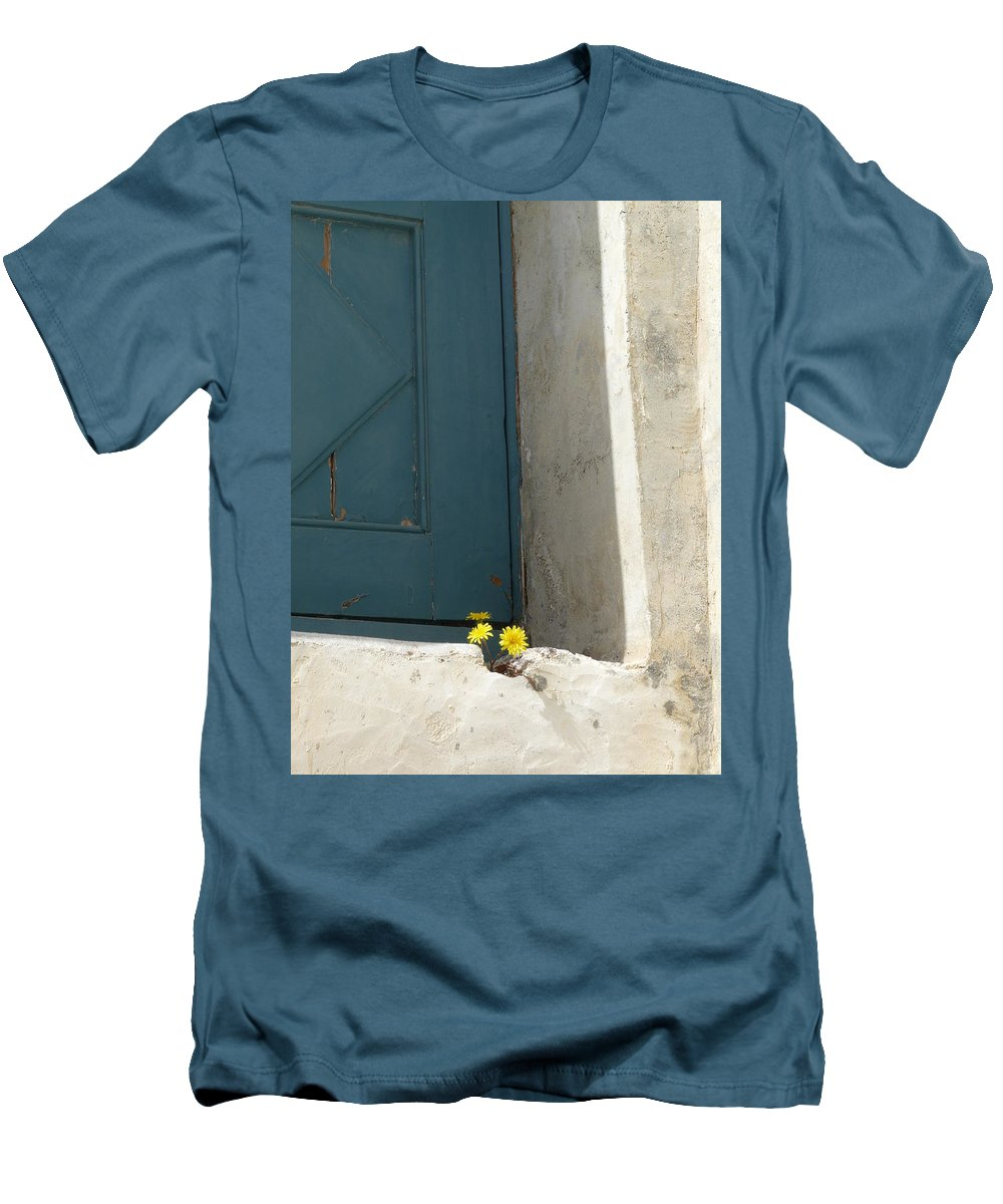 Old Men's T-Shirt (Athletic Fit) featuring the photograph Old Greek Door by Valerie Ornstein