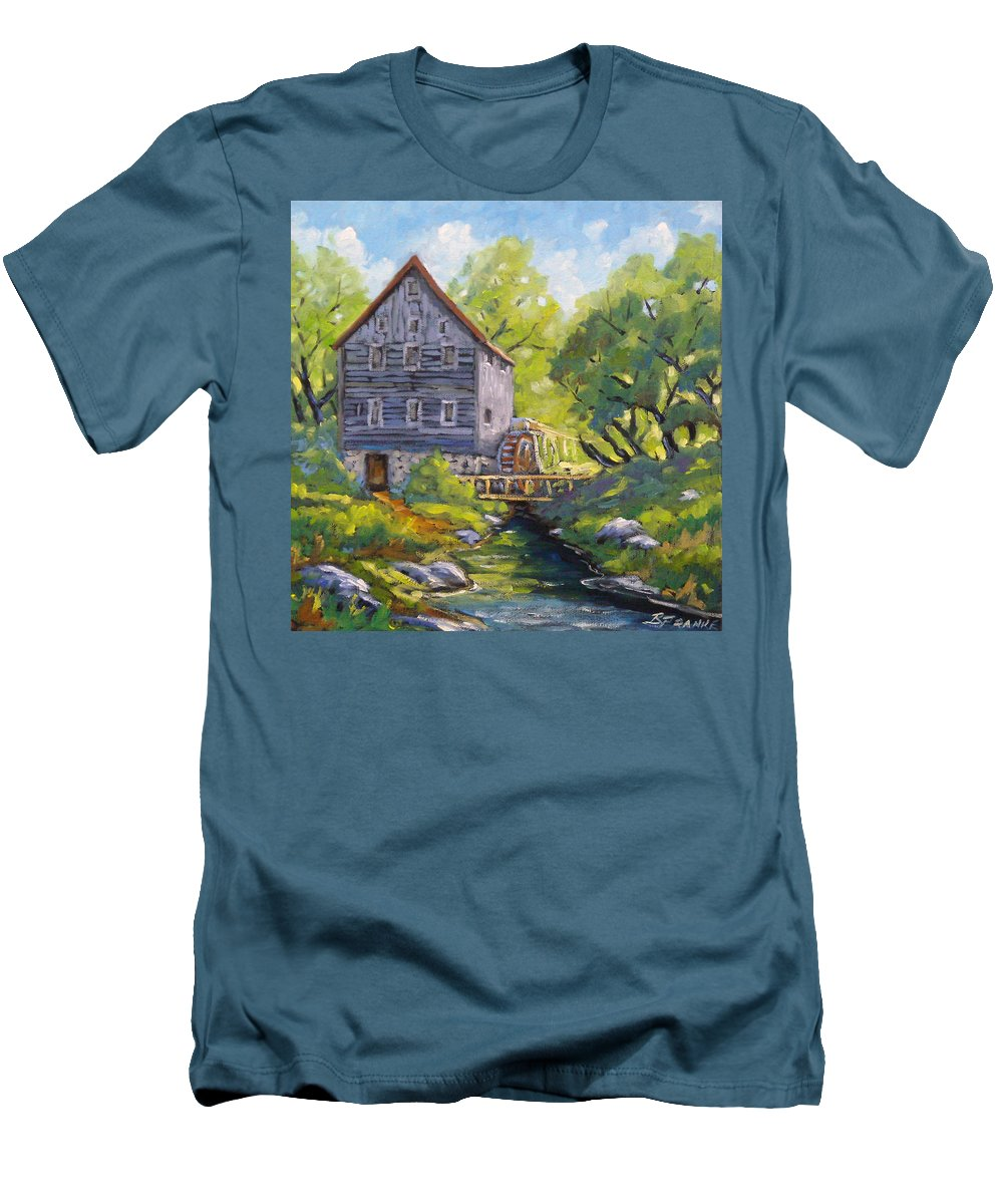 Art Men's T-Shirt (Athletic Fit) featuring the painting Old Watermill by Richard T Pranke
