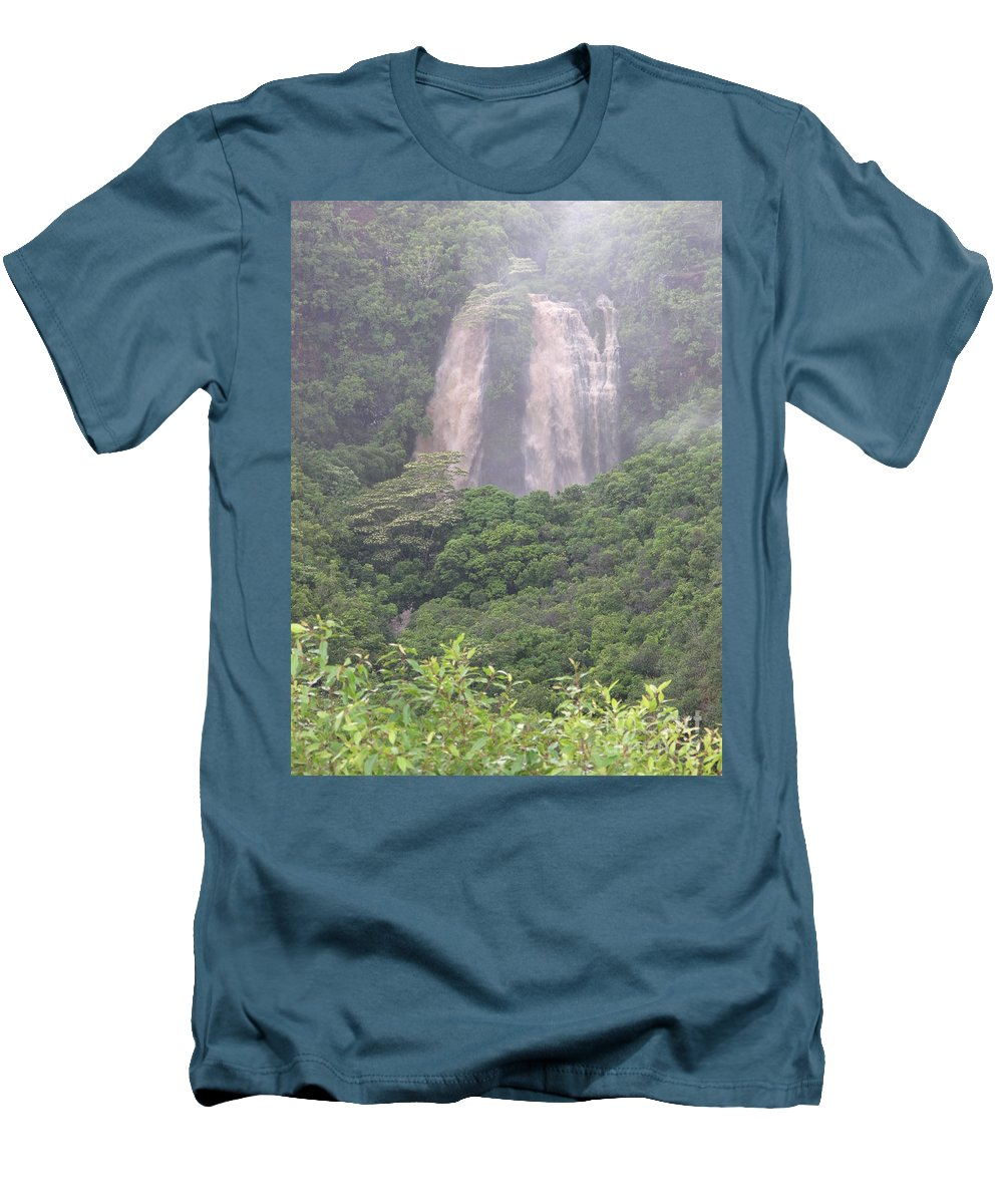 Mary Deal Men's T-Shirt (Athletic Fit) featuring the photograph Opaekaa Falls On Kauai During A Storm by Mary Deal