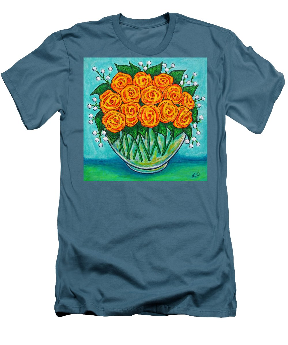 Orange Men's T-Shirt (Athletic Fit) featuring the painting Orange Passion by Lisa Lorenz