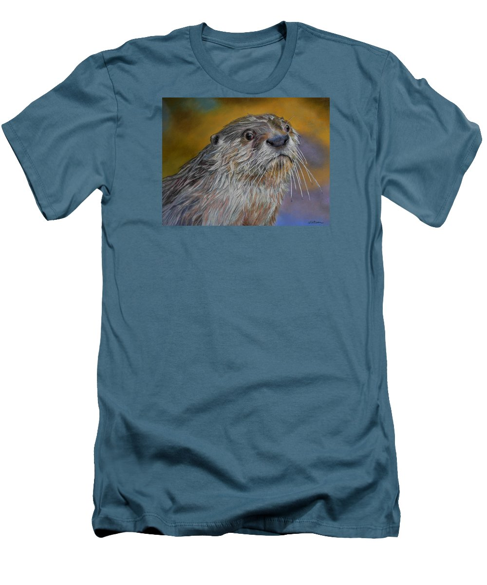 River Otter Men's T-Shirt (Athletic Fit) featuring the painting Otter Or Not by Ceci Watson