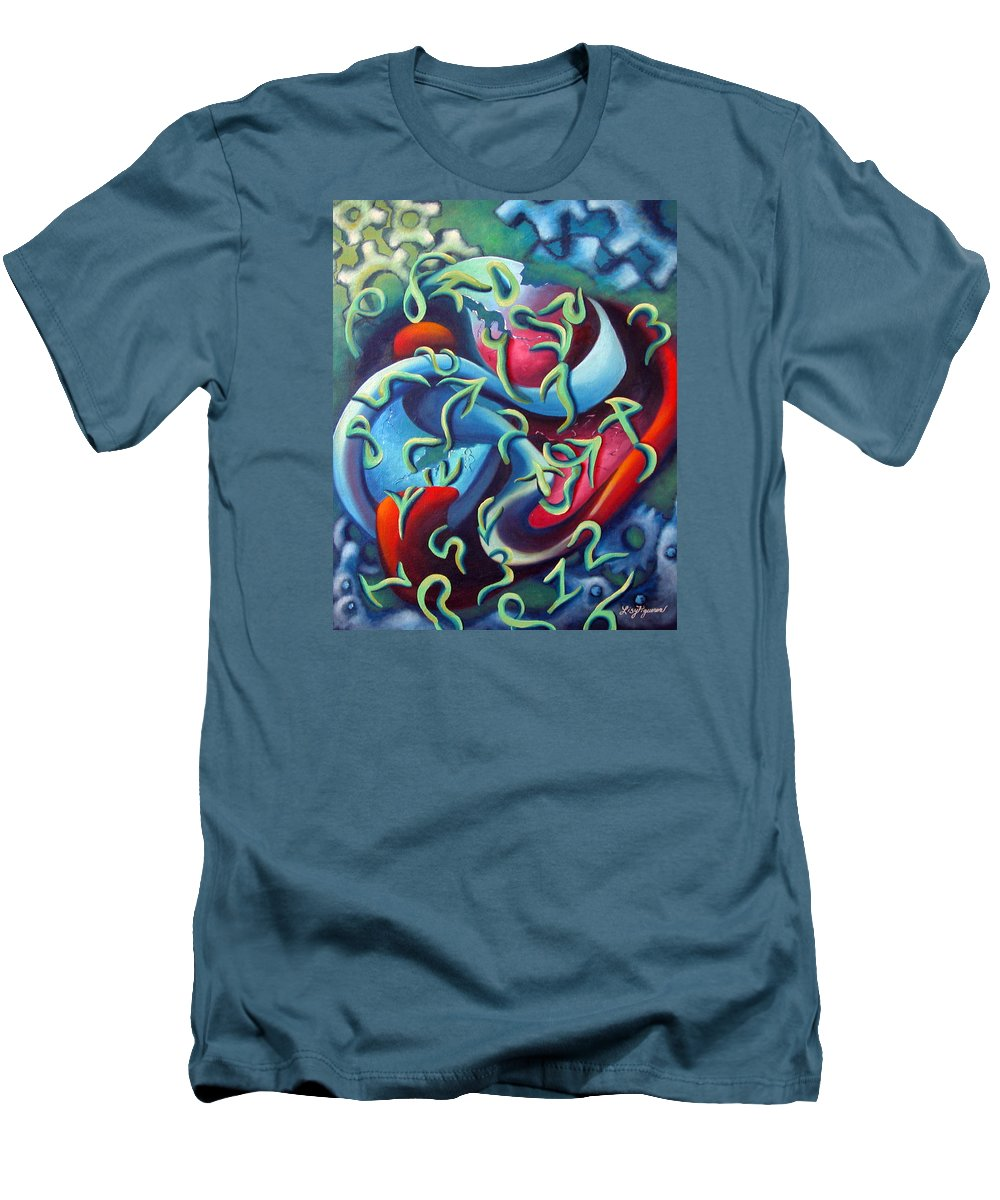 Clocks Men's T-Shirt (Athletic Fit) featuring the painting Our Inner Clocks by Elizabeth Lisy Figueroa