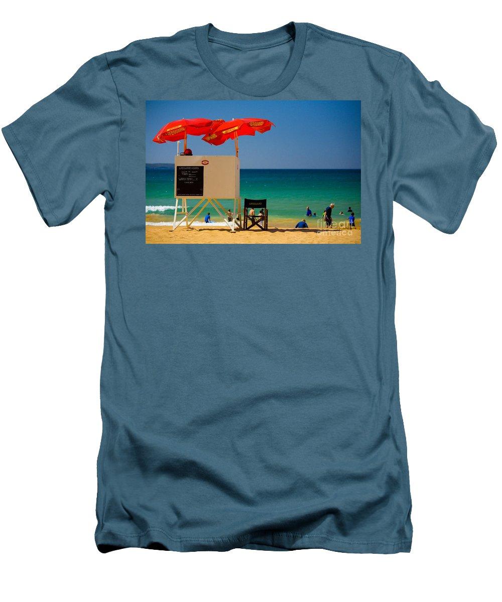 Palm Beach Sun Sea Sky Beach Umbrellas Men's T-Shirt (Athletic Fit) featuring the photograph Palm Beach Dreaming by Avalon Fine Art Photography
