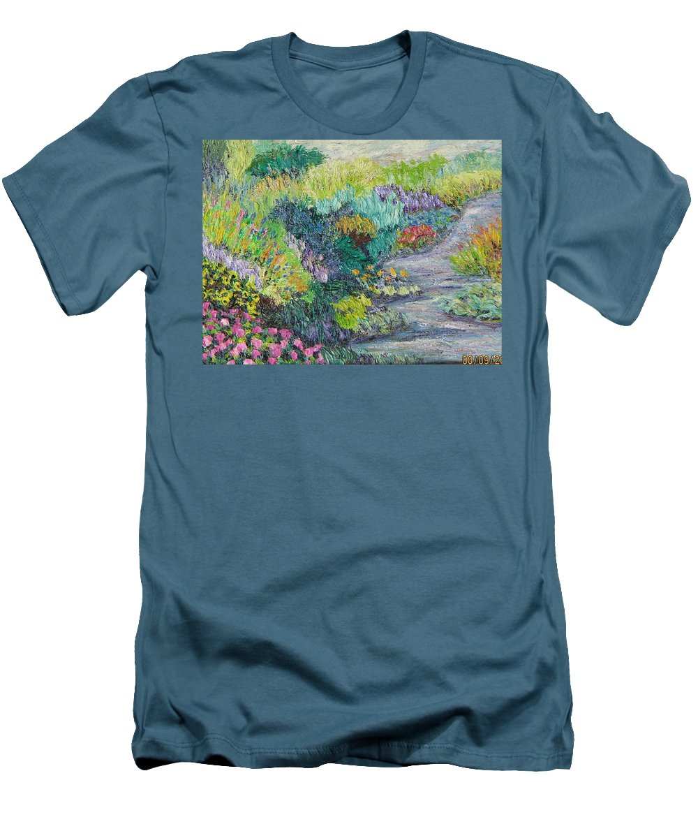 Flowers Men's T-Shirt (Athletic Fit) featuring the painting Pathway Of Flowers by Richard Nowak