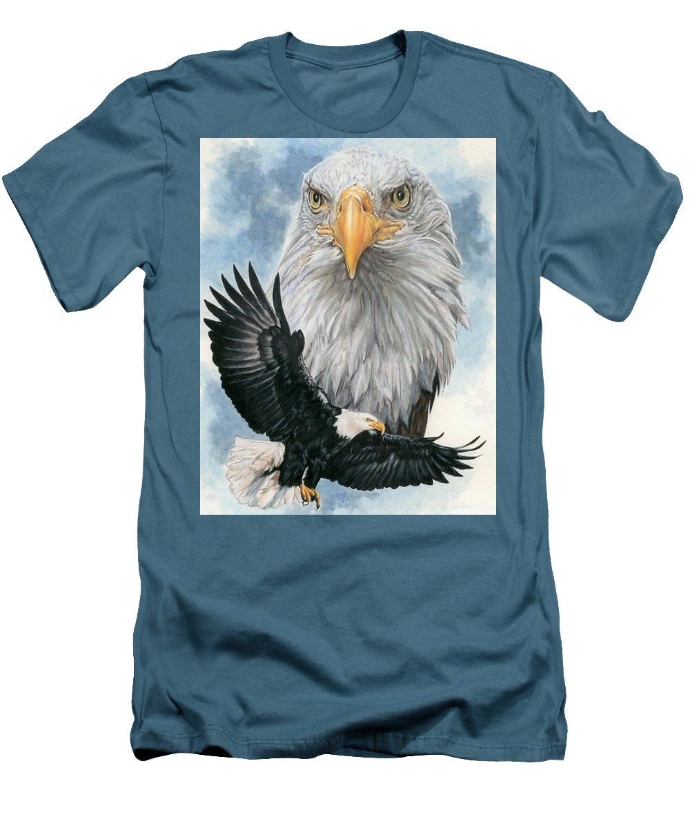 Bald Eagle Men's T-Shirt (Athletic Fit) featuring the mixed media Peerless by Barbara Keith