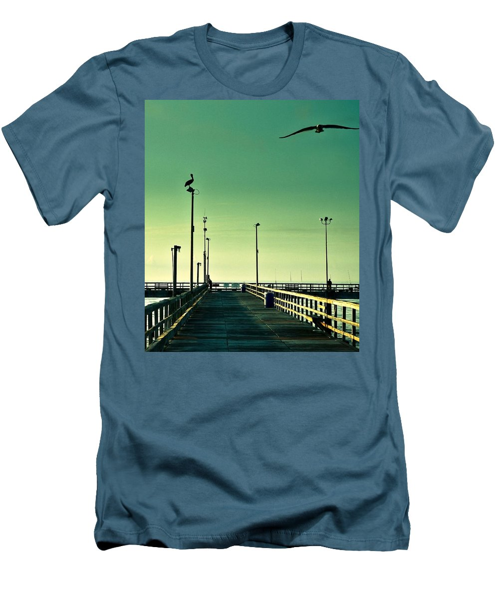 Americana Men's T-Shirt (Athletic Fit) featuring the photograph Pelican On Watch Duty by Marilyn Hunt