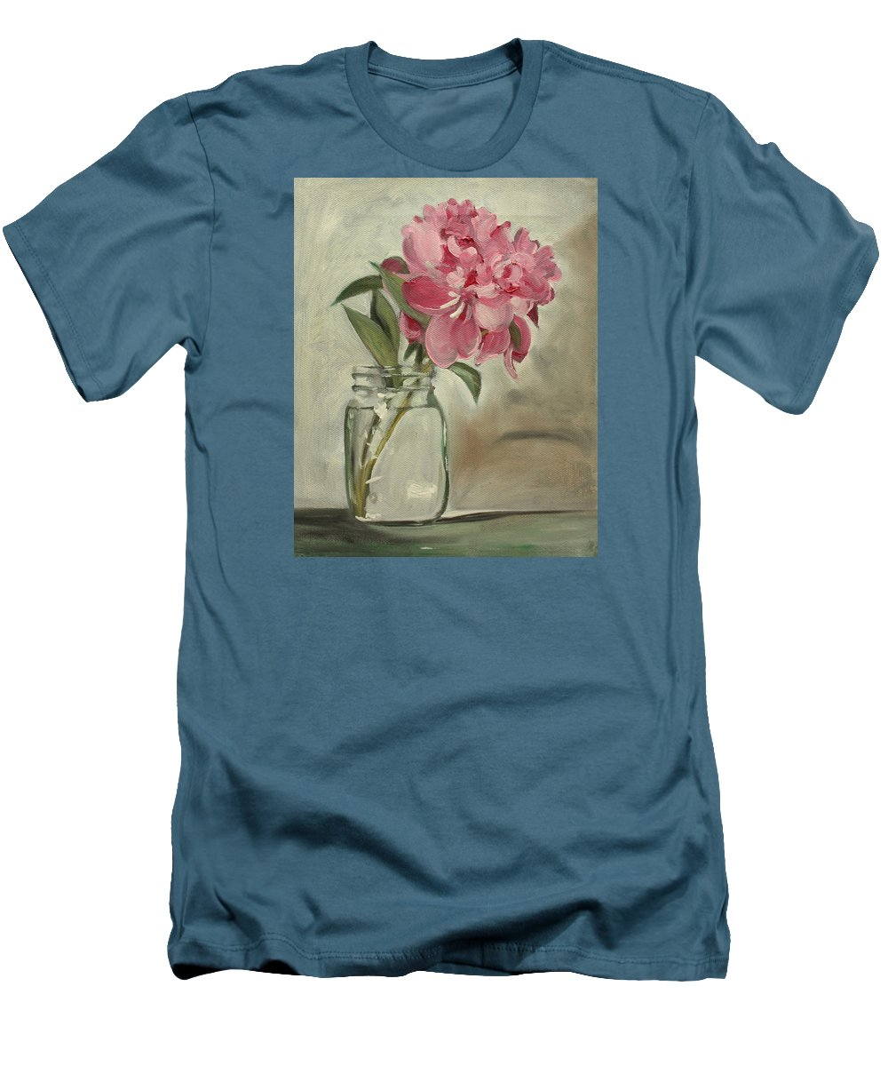 Still-life Men's T-Shirt (Athletic Fit) featuring the painting Peony by Sarah Lynch