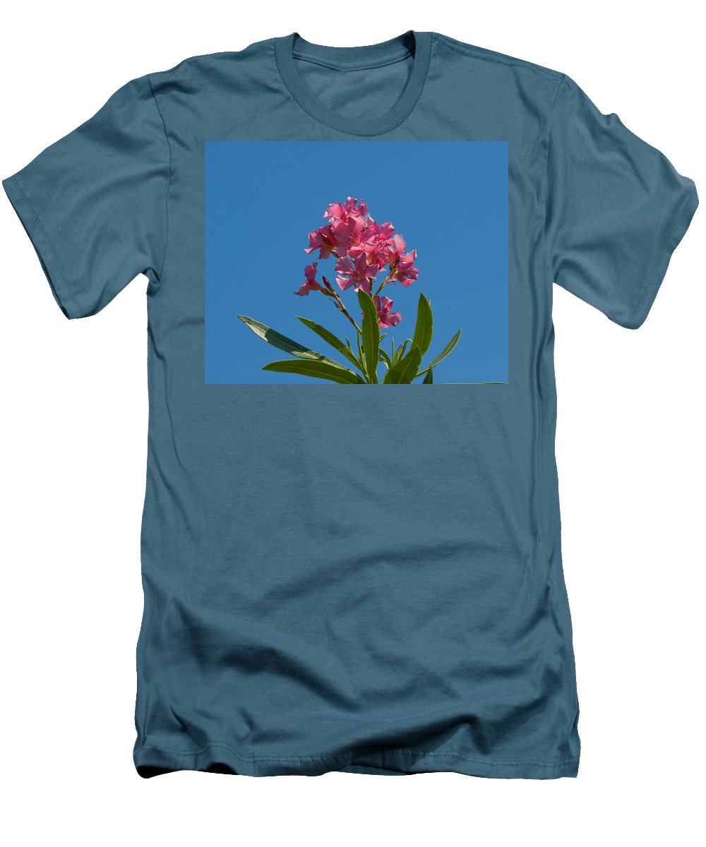 Florida; Indian; River; Melbourne; Nerium; Oleander; Red; Pink; Flower; Bush; Shrub; Poison; Poisono Men's T-Shirt (Athletic Fit) featuring the photograph Pink Oleander Flower In Spring by Allan Hughes
