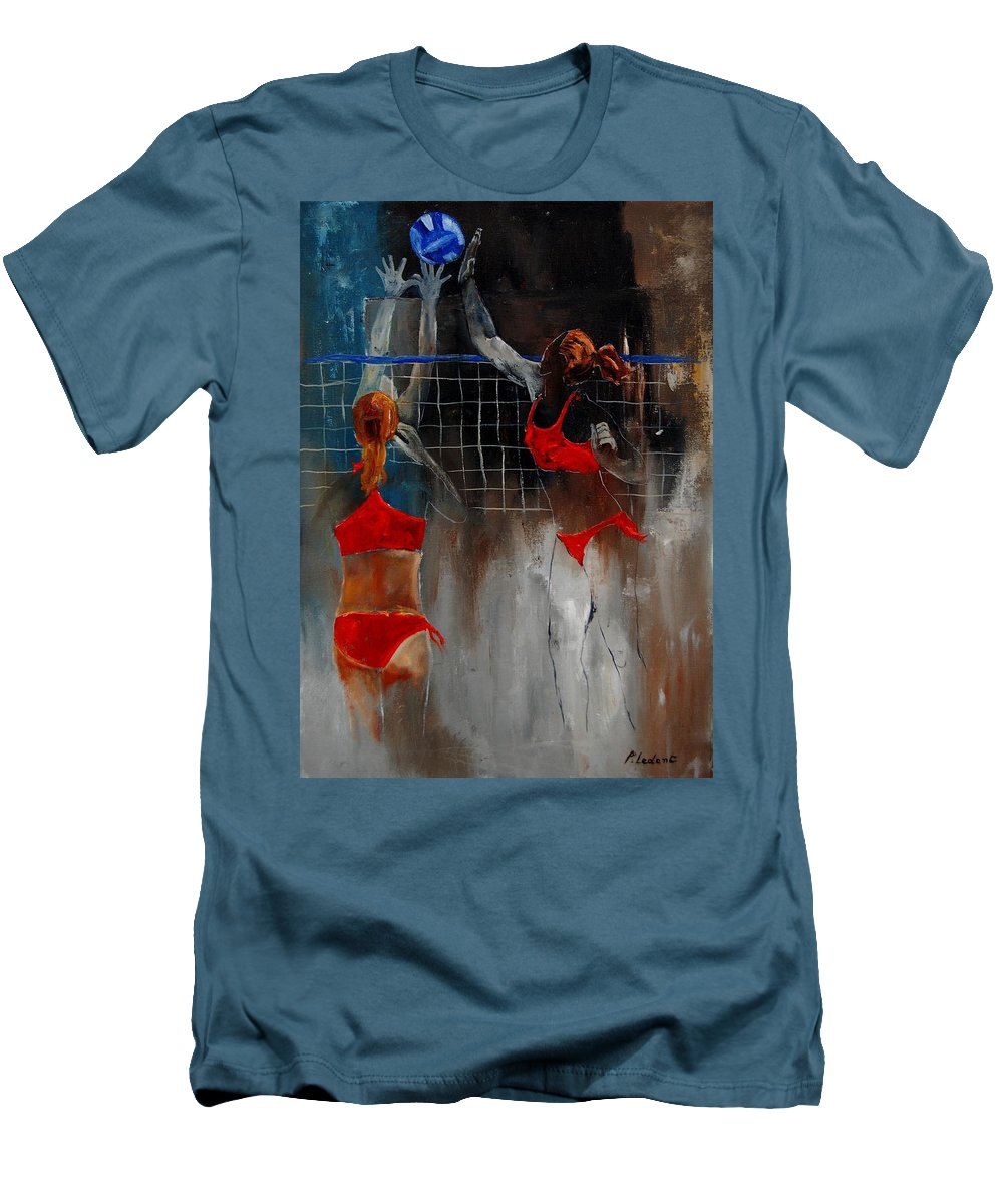 Sport Men's T-Shirt (Athletic Fit) featuring the painting Playing Volley by Pol Ledent