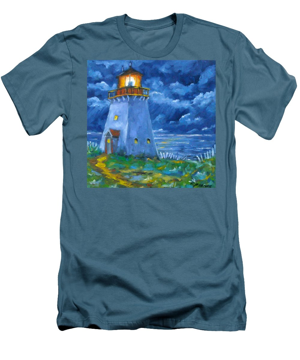 Art Men's T-Shirt (Athletic Fit) featuring the painting Pointe Bonaventure by Richard T Pranke