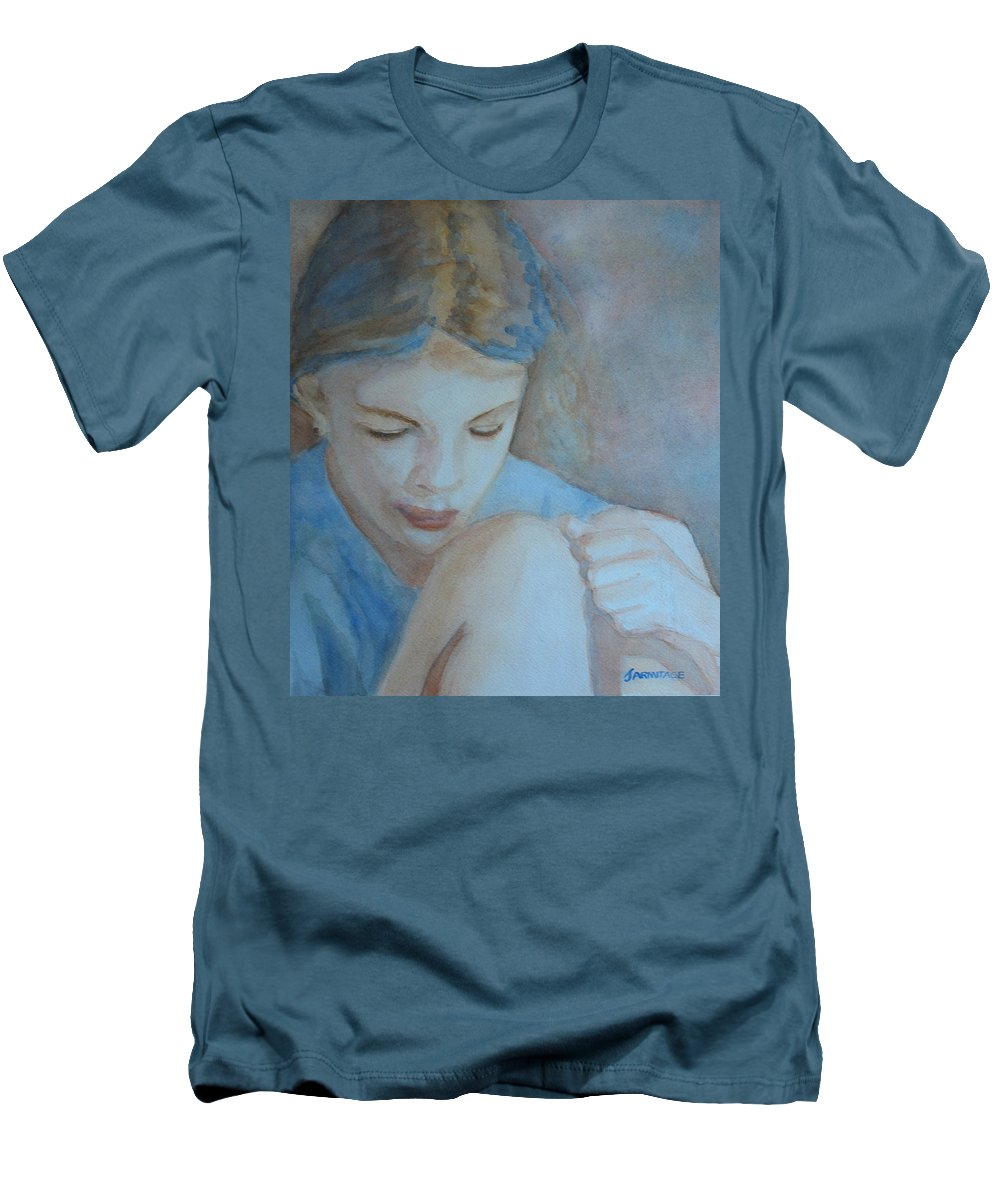 Girl Men's T-Shirt (Athletic Fit) featuring the painting Pondering by Jenny Armitage