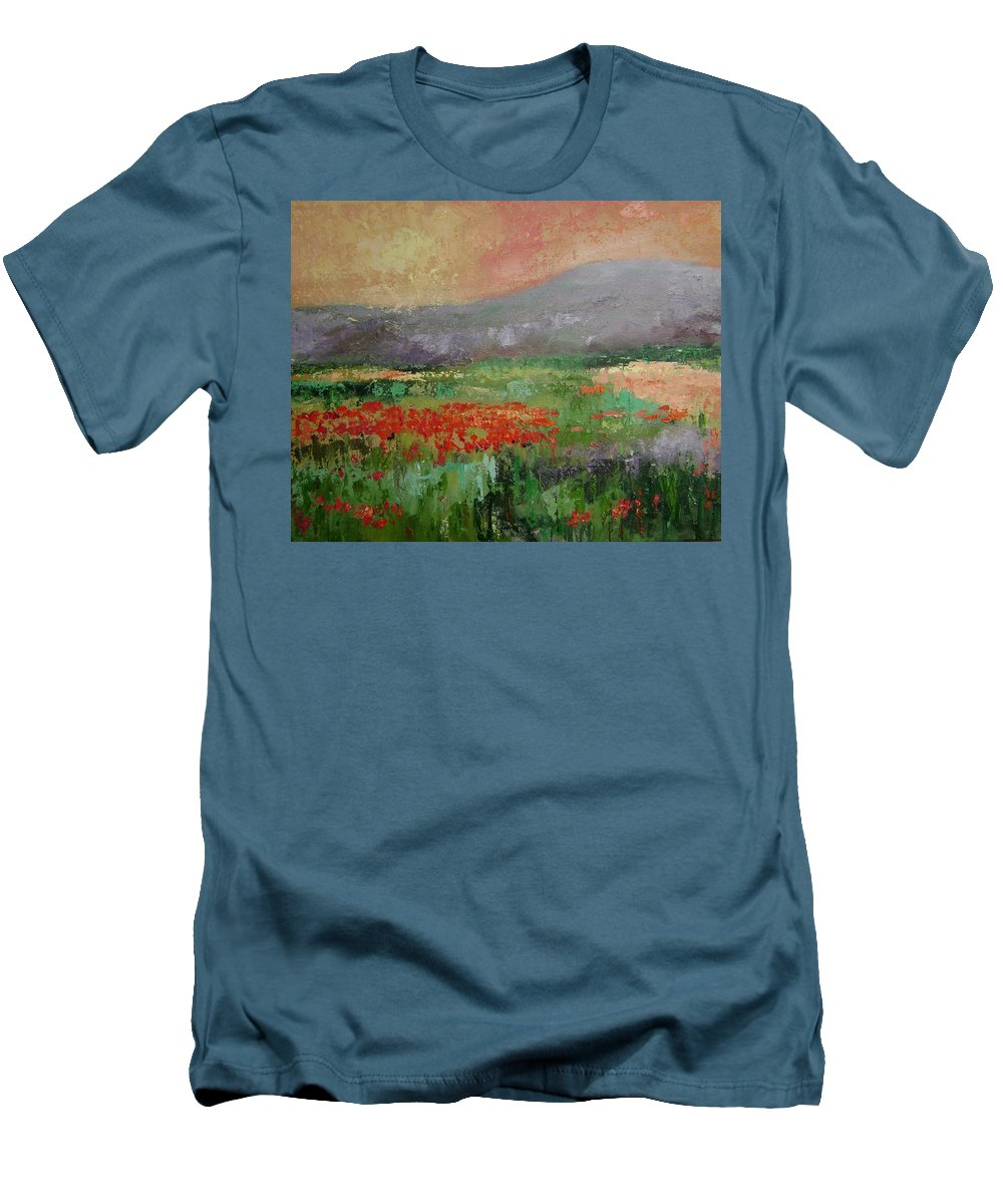 Poppies Men's T-Shirt (Athletic Fit) featuring the painting Poppyfield by Ginger Concepcion