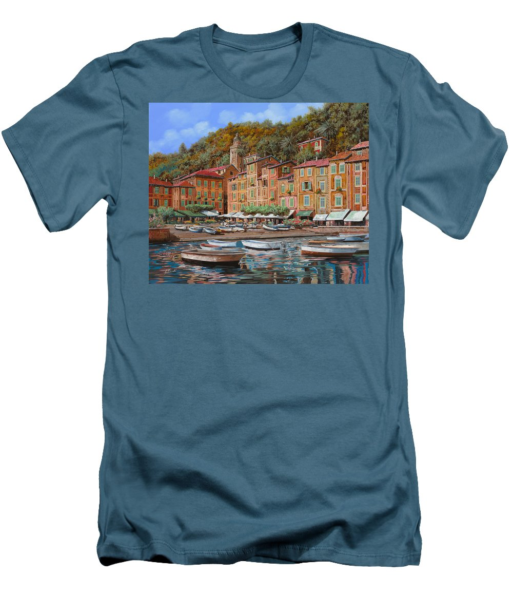 Portofino Men's T-Shirt (Athletic Fit) featuring the painting Portofino-la Piazzetta E Le Barche by Guido Borelli