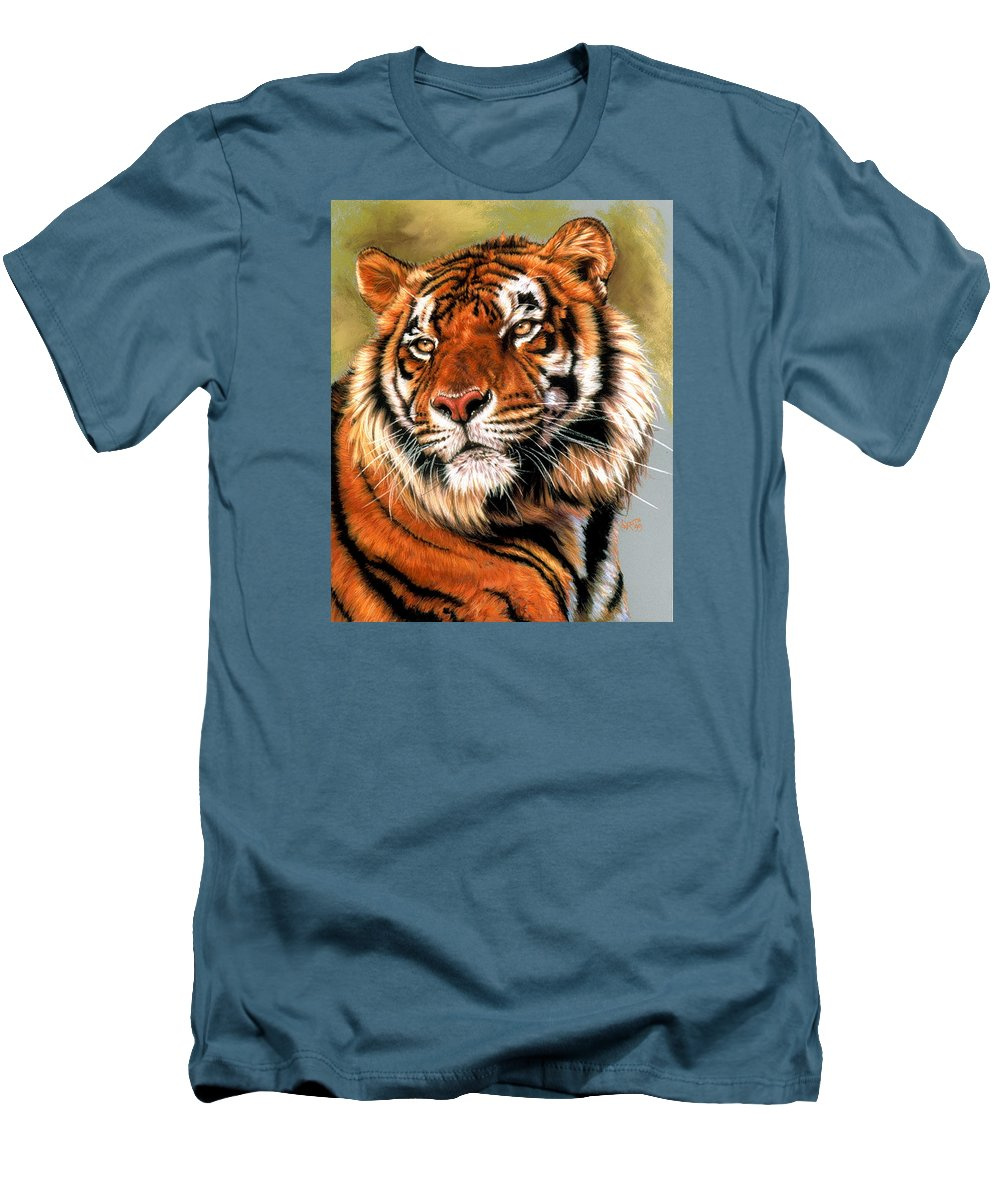 Tiger Men's T-Shirt (Athletic Fit) featuring the pastel Power And Grace by Barbara Keith