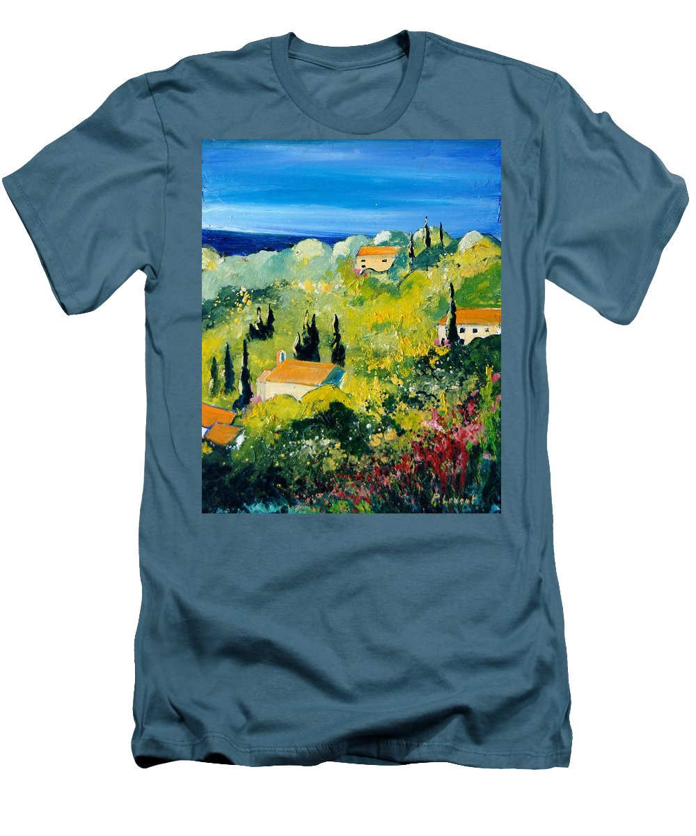 Village Men's T-Shirt (Athletic Fit) featuring the painting Provence 459070 by Pol Ledent