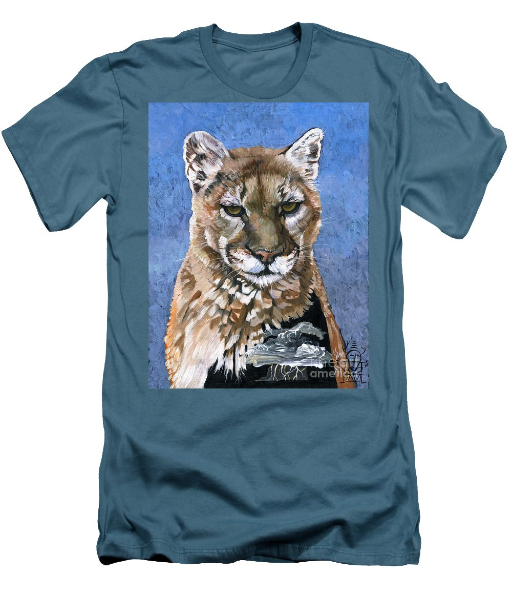 Puma Men's T-Shirt (Athletic Fit) featuring the painting Puma - The Hunter by J W Baker