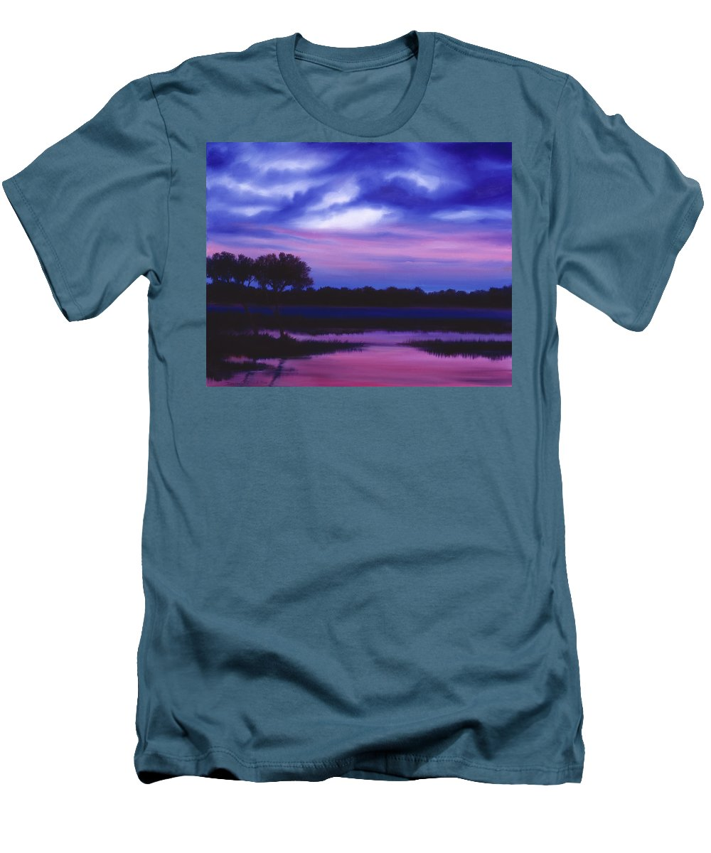 Sunrise Men's T-Shirt (Athletic Fit) featuring the painting Purple Landscape Or Jean's Clearing by James Christopher Hill
