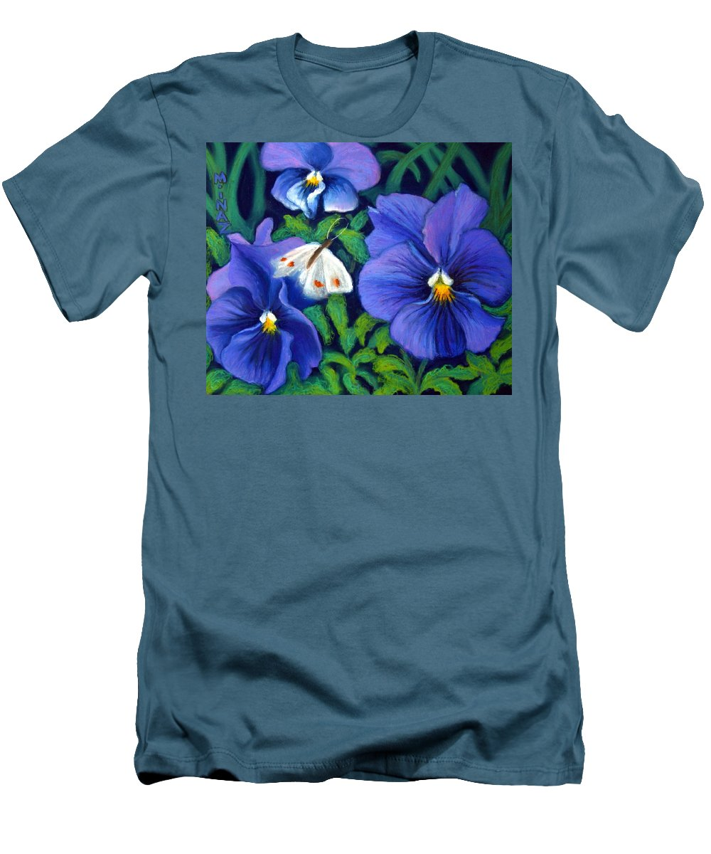 Pansy Men's T-Shirt (Athletic Fit) featuring the painting Purple Pansies And White Moth by Minaz Jantz