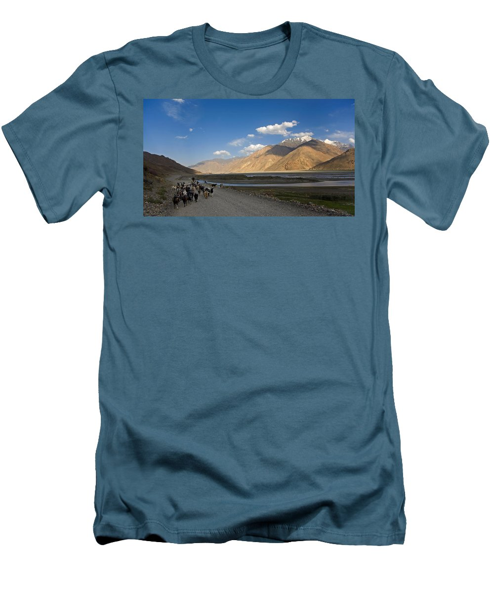 Animal Men's T-Shirt (Athletic Fit) featuring the photograph Pyandzh Valley by Konstantin Dikovsky