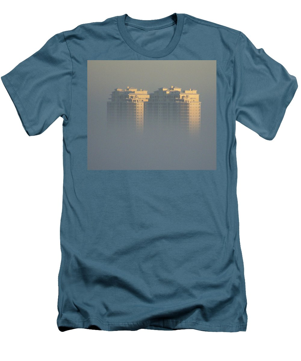Raptor Bay Men's T-Shirt (Athletic Fit) featuring the photograph Raptor Bay Morning Mist by Laurie Paci