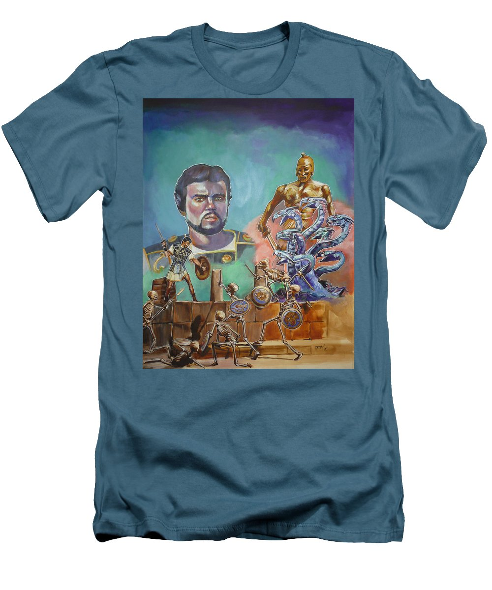 Jason Argonauts Hydra Talos Skeletons Movie Harryhausen Fantasy Sci-fi Men's T-Shirt (Athletic Fit) featuring the painting Ray Harryhausen Tribute Jason And The Argonauts by Bryan Bustard