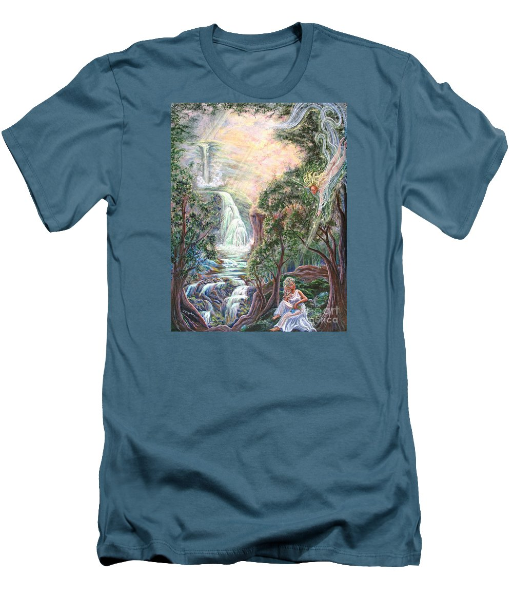 Spiritual Men's T-Shirt (Athletic Fit) featuring the painting Ready To Fly by Joyce Jackson
