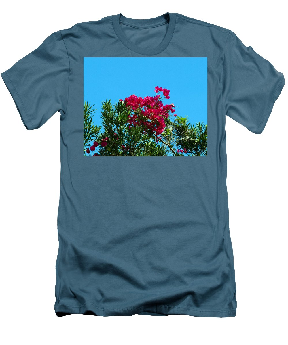 Red; Bougainvillea; Glabra; Juniperus; Vitginiana; Silicicola; Coastal; Cedar; Tree; Vine; Grow; Gro Men's T-Shirt (Athletic Fit) featuring the photograph Red Bougainvillea Glabra Vine by Allan Hughes