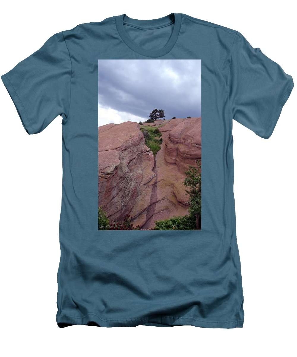 Red Rocks Men's T-Shirt (Athletic Fit) featuring the photograph Red Rocks by Merja Waters