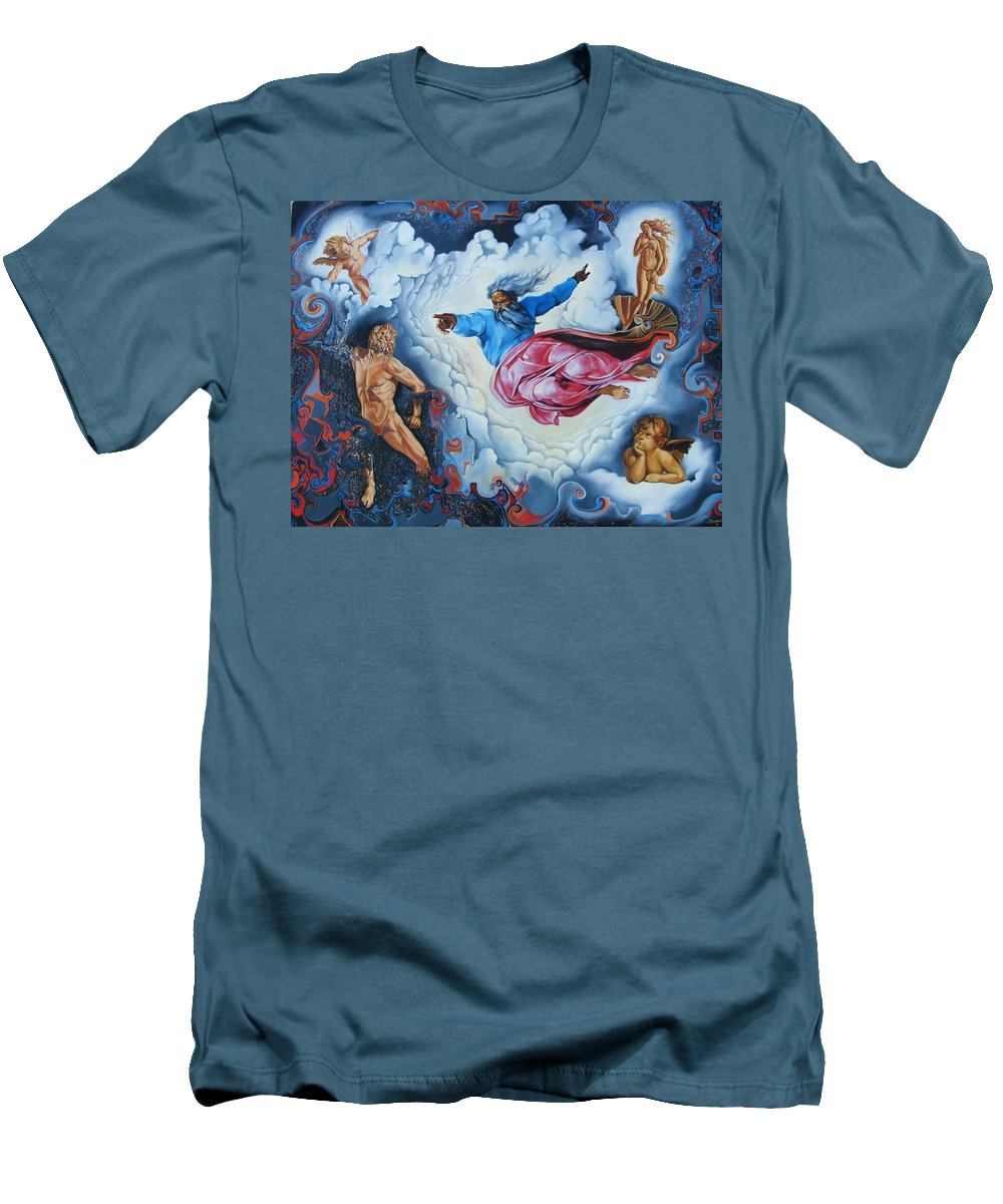 Surrealism Men's T-Shirt (Athletic Fit) featuring the painting Redemption by Darwin Leon