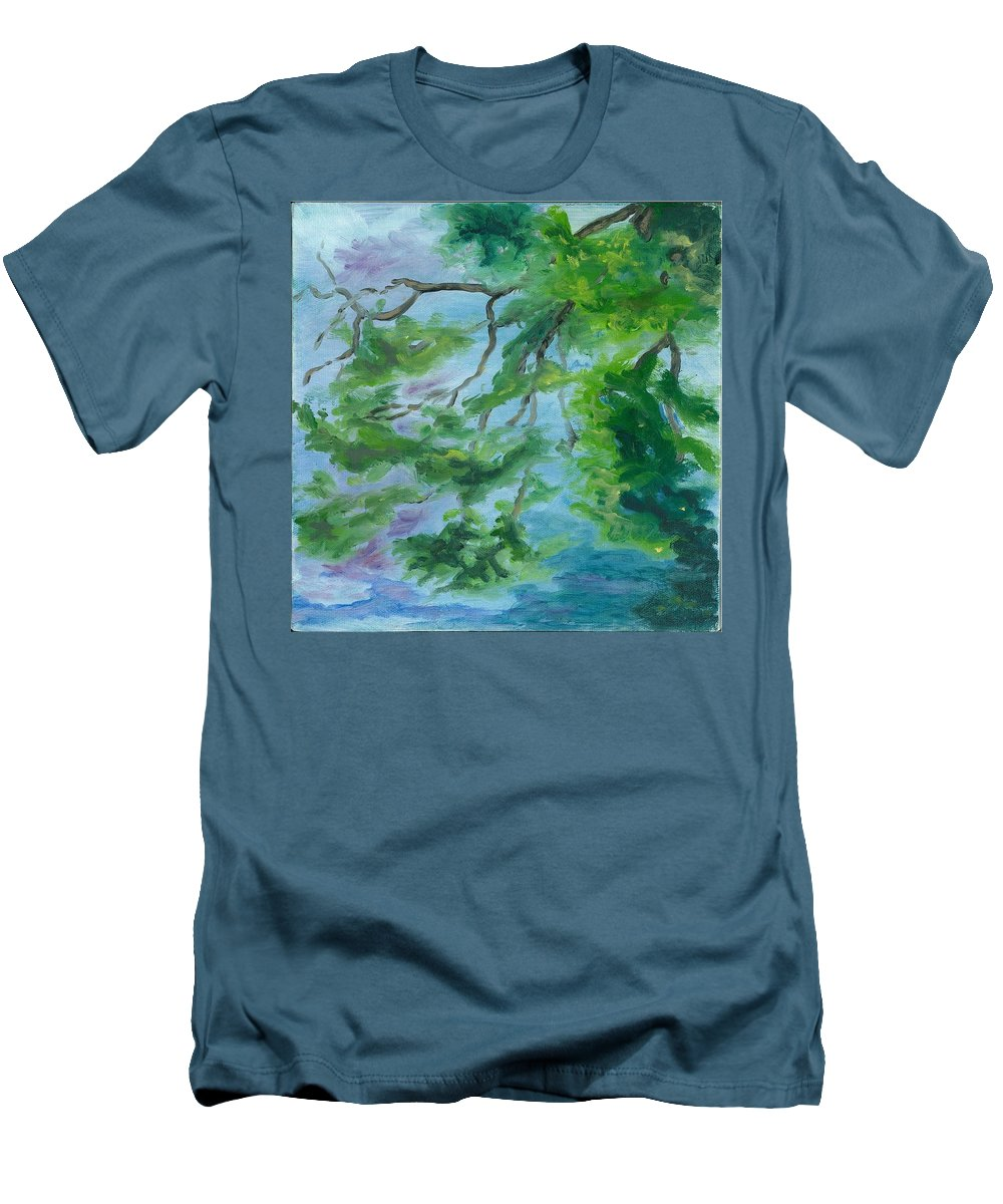 Reflections Men's T-Shirt (Athletic Fit) featuring the painting Reflections On The Mill Pond by Paula Emery