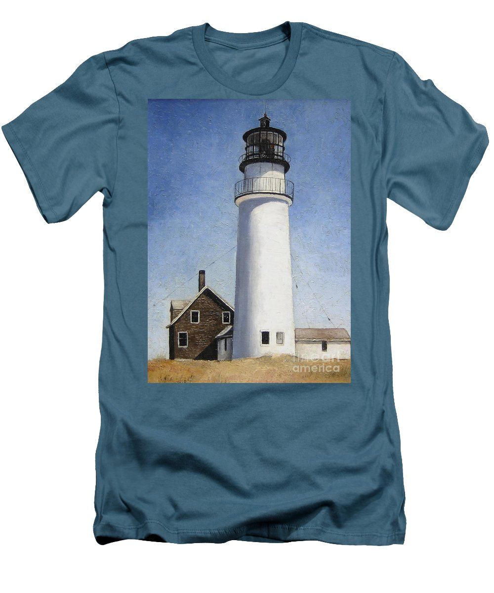 Lighthouse Men's T-Shirt (Athletic Fit) featuring the painting Rhode Island Lighthouse by Mary Rogers