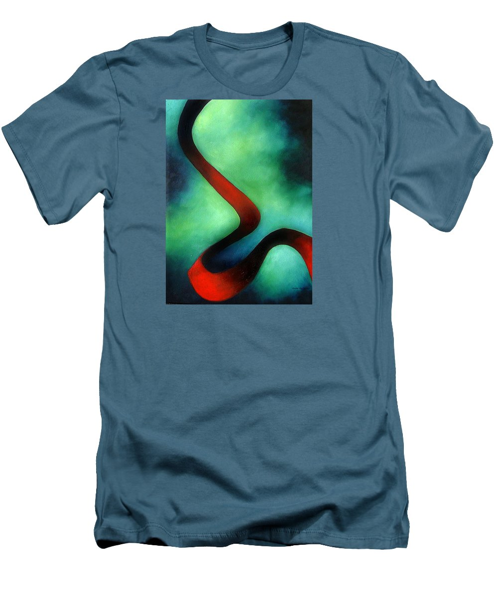 Red Men's T-Shirt (Athletic Fit) featuring the painting Ribbon Of Time by Elizabeth Lisy Figueroa