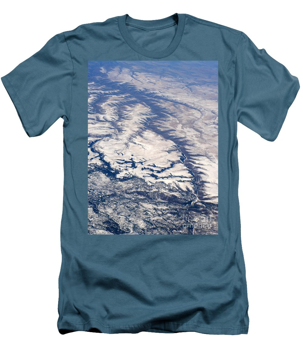 Aerial Men's T-Shirt (Athletic Fit) featuring the photograph River Valley Aerial by Carol Groenen