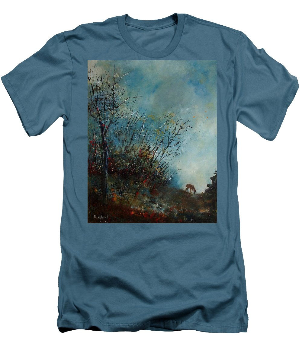 Animal Men's T-Shirt (Athletic Fit) featuring the painting Roedeer In The Morning by Pol Ledent
