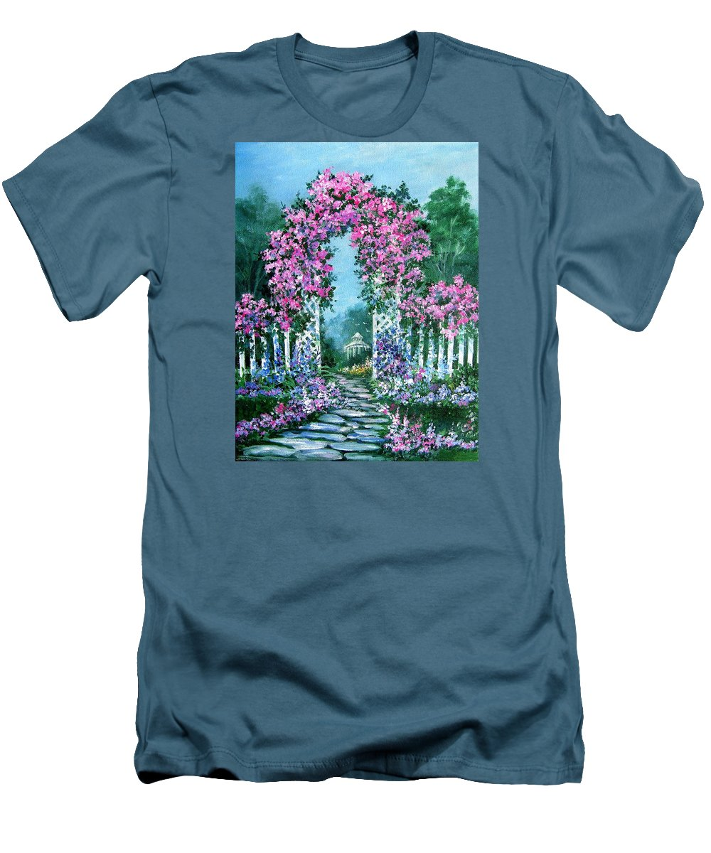 Roses;floral;garden;picket Fence;arch;trellis;garden Walk;flower Garden; Men's T-Shirt (Athletic Fit) featuring the painting Rose-covered Trellis by Lois Mountz