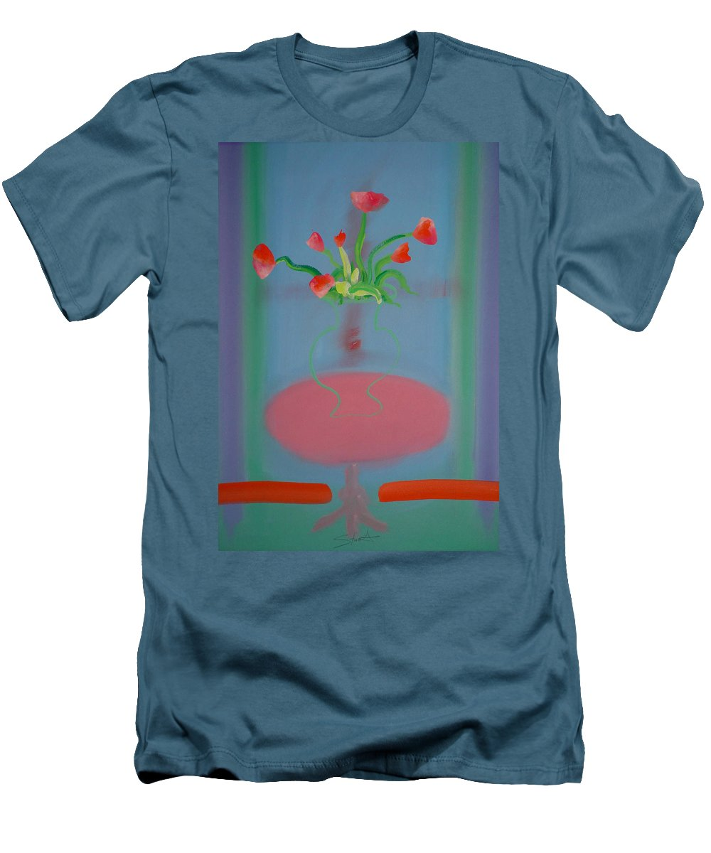 Flower Men's T-Shirt (Athletic Fit) featuring the painting Rouseau Flowers by Charles Stuart