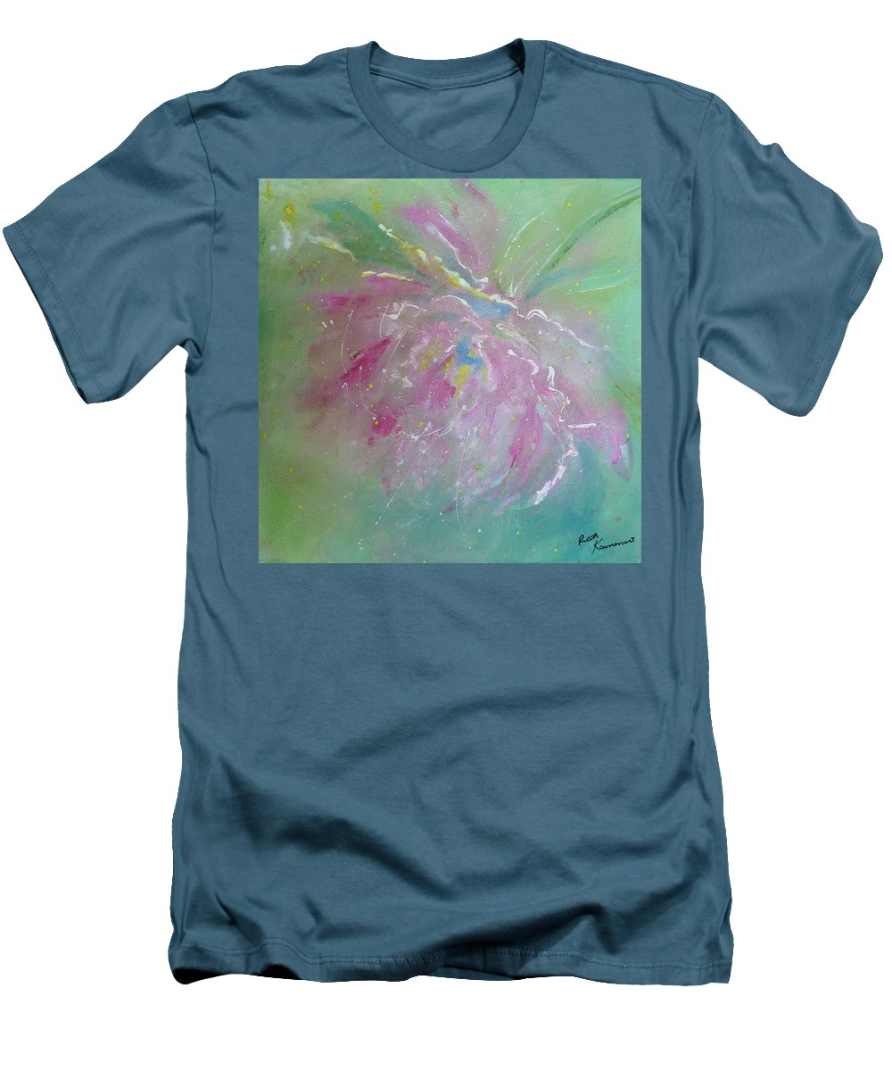Peony Men's T-Shirt (Athletic Fit) featuring the painting Ruby Red Peony by Ruth Kamenev
