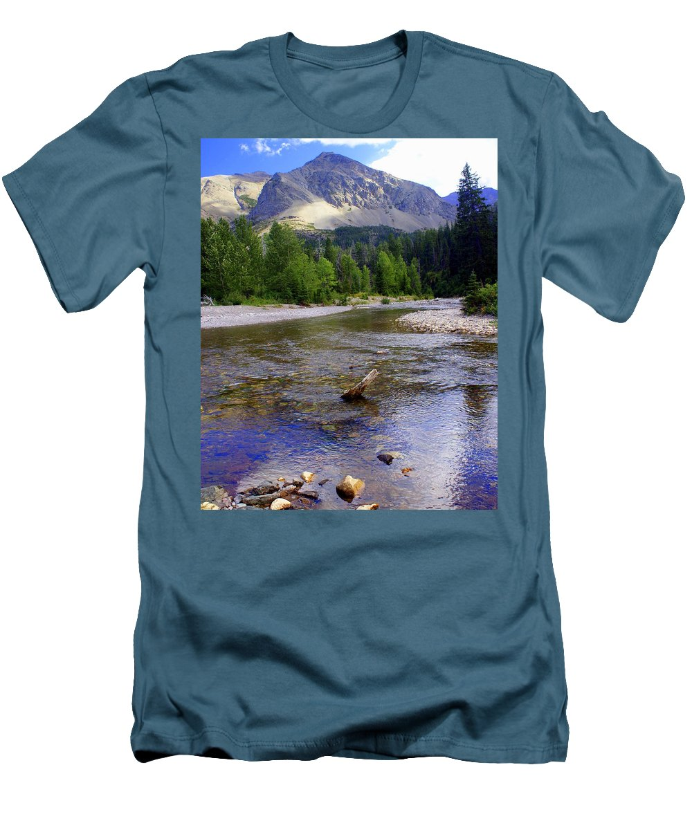 Stream Glacier National Park Men's T-Shirt (Athletic Fit) featuring the photograph Running Eagle Creek Glacier National Park by Marty Koch