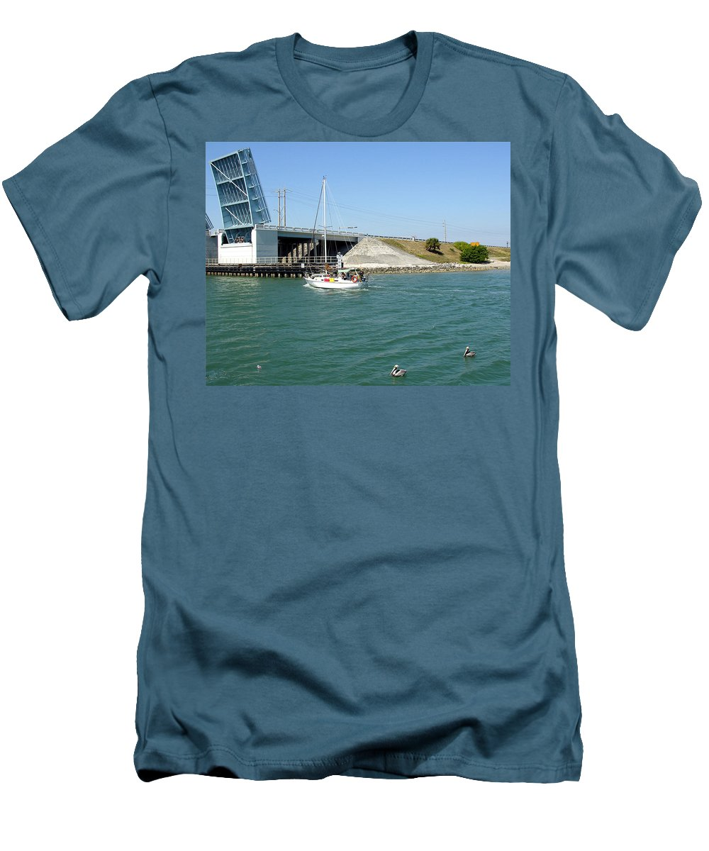 Port; Canaveral; Locks; Sail; Boat; Pelicans; Sailboat Drawbridge; Sailboat; Indian River; Indian; I Men's T-Shirt (Athletic Fit) featuring the photograph Sailing In Port Canaveral Florida by Allan Hughes