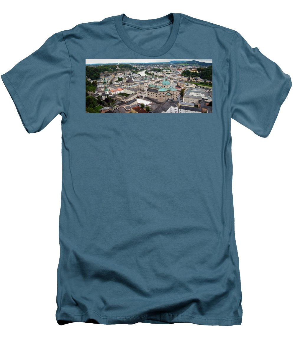 3scape Men's T-Shirt (Athletic Fit) featuring the photograph Salzburg Panoramic by Adam Romanowicz