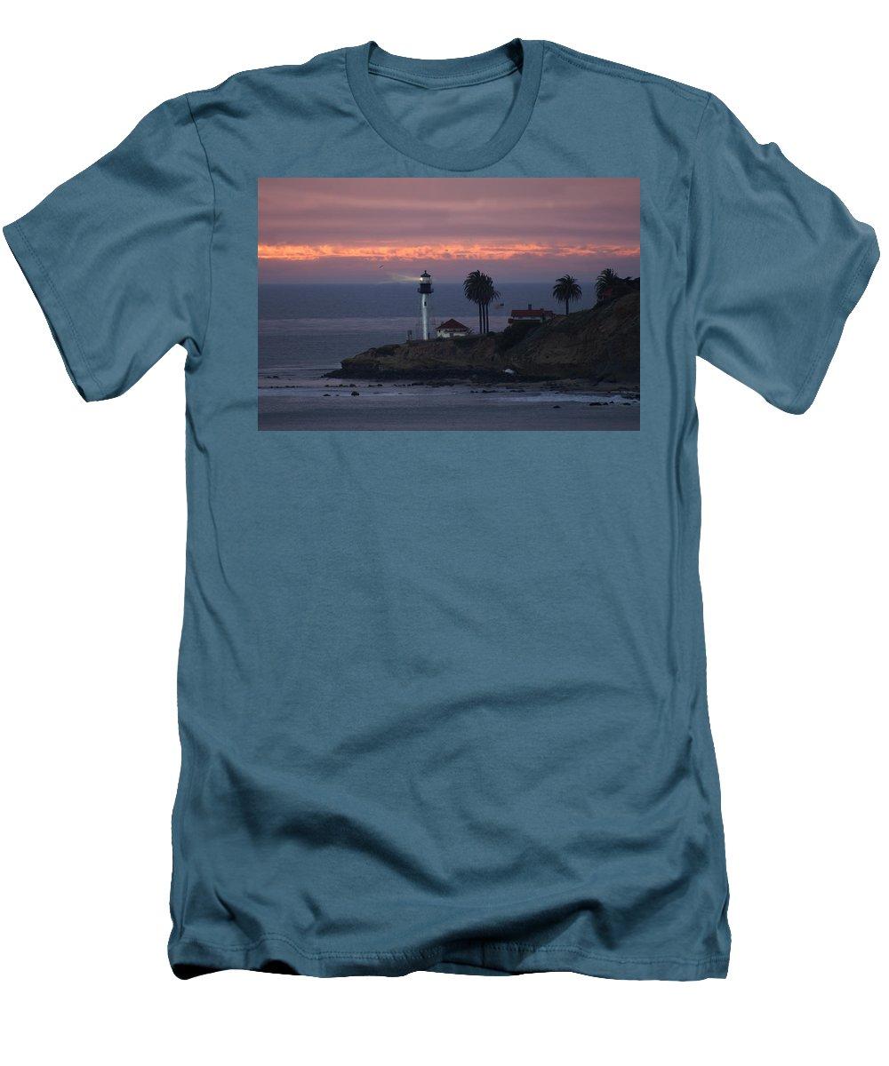 San Deigo Men's T-Shirt (Athletic Fit) featuring the photograph San Diego Lighthouse by Heather Coen