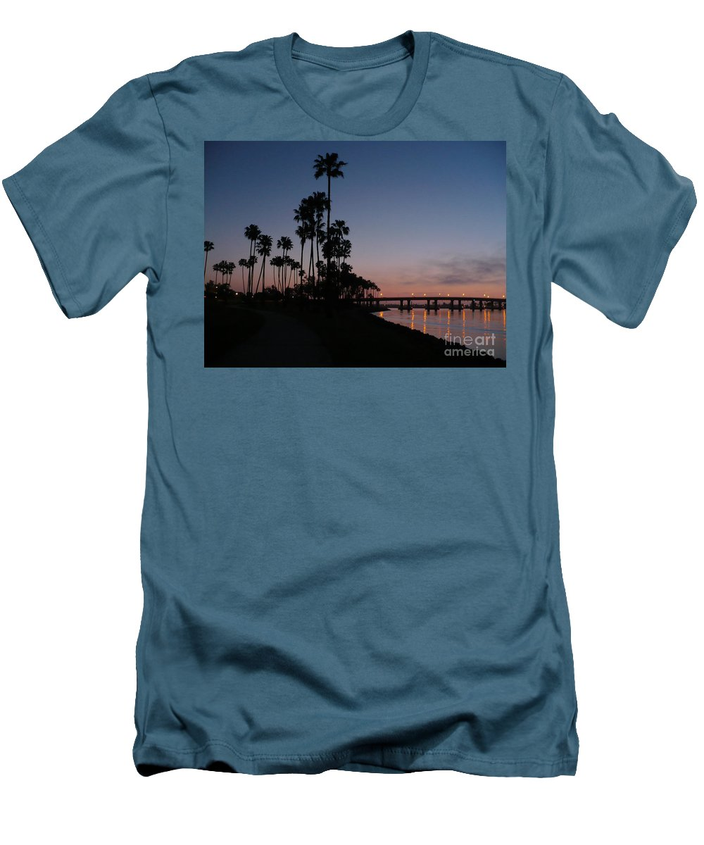 Sunset Men's T-Shirt (Athletic Fit) featuring the photograph San Diego Sunset With Palm Trees by Carol Groenen