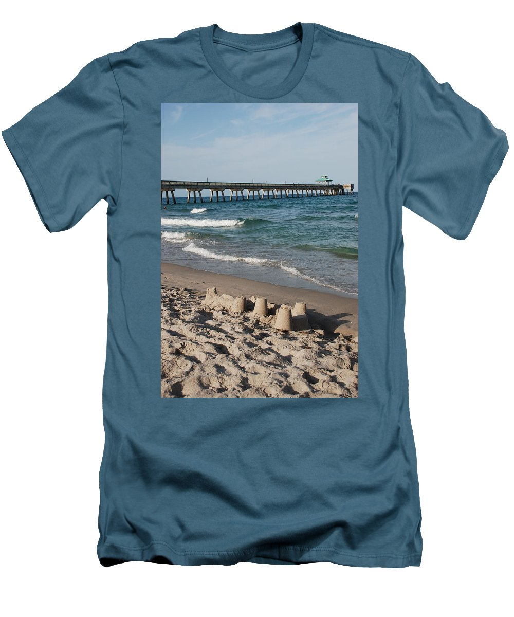 Sea Scape Men's T-Shirt (Athletic Fit) featuring the photograph Sand Castles And Piers by Rob Hans