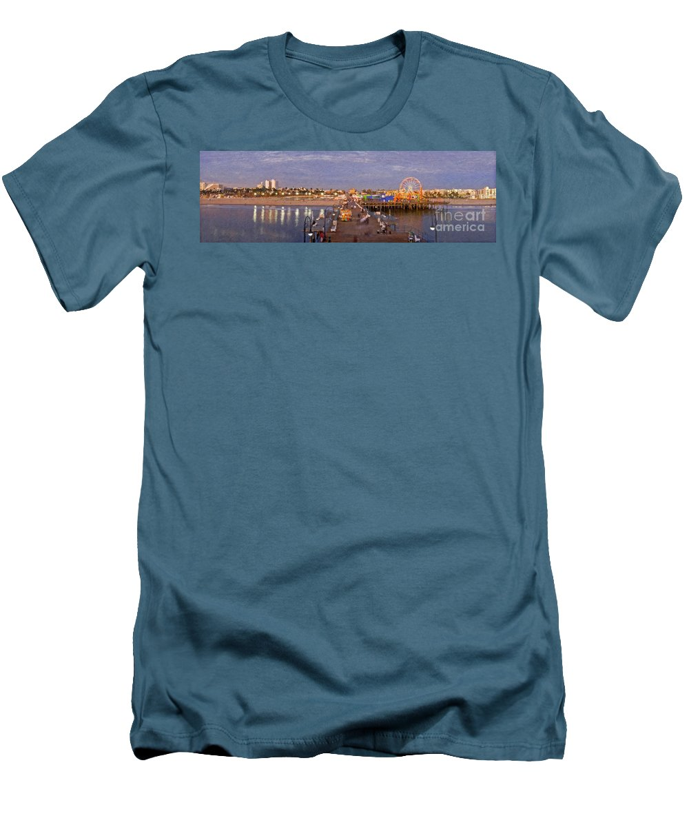 Santa Monica Pacific Park Pier Sunset Panoramic Men's T-Shirt (Athletic Fit) featuring the photograph Santa Monica Pacific Park Pier Skyline Panoramic by David Zanzinger
