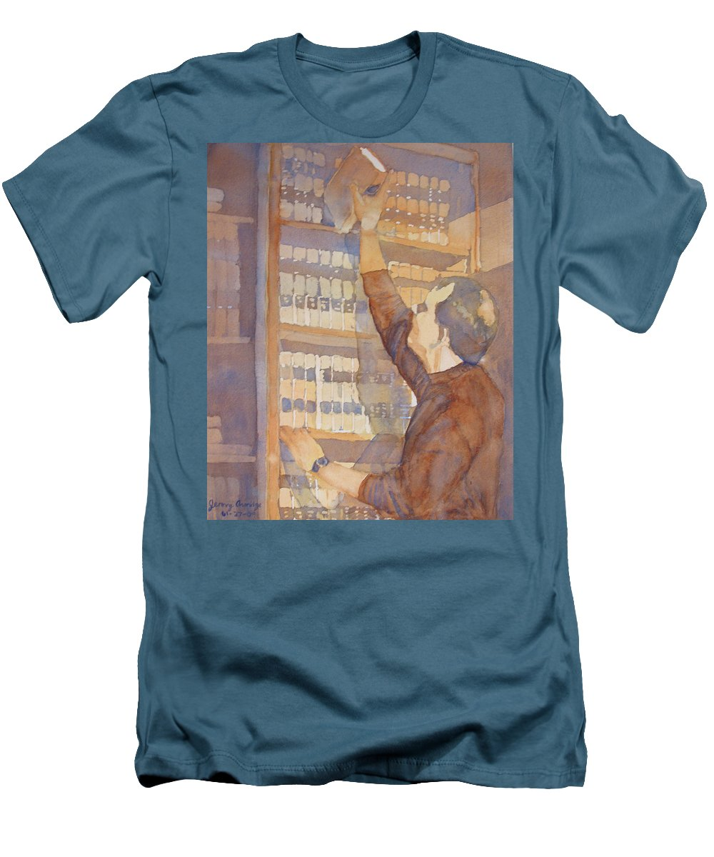 Law Men's T-Shirt (Athletic Fit) featuring the painting Saturday At The Office by Jenny Armitage