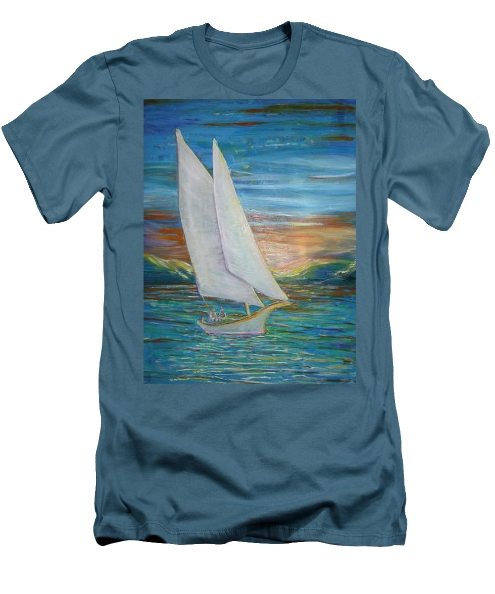 Sailboat Men's T-Shirt (Athletic Fit) featuring the painting Saturday Sail by Regina Walsh