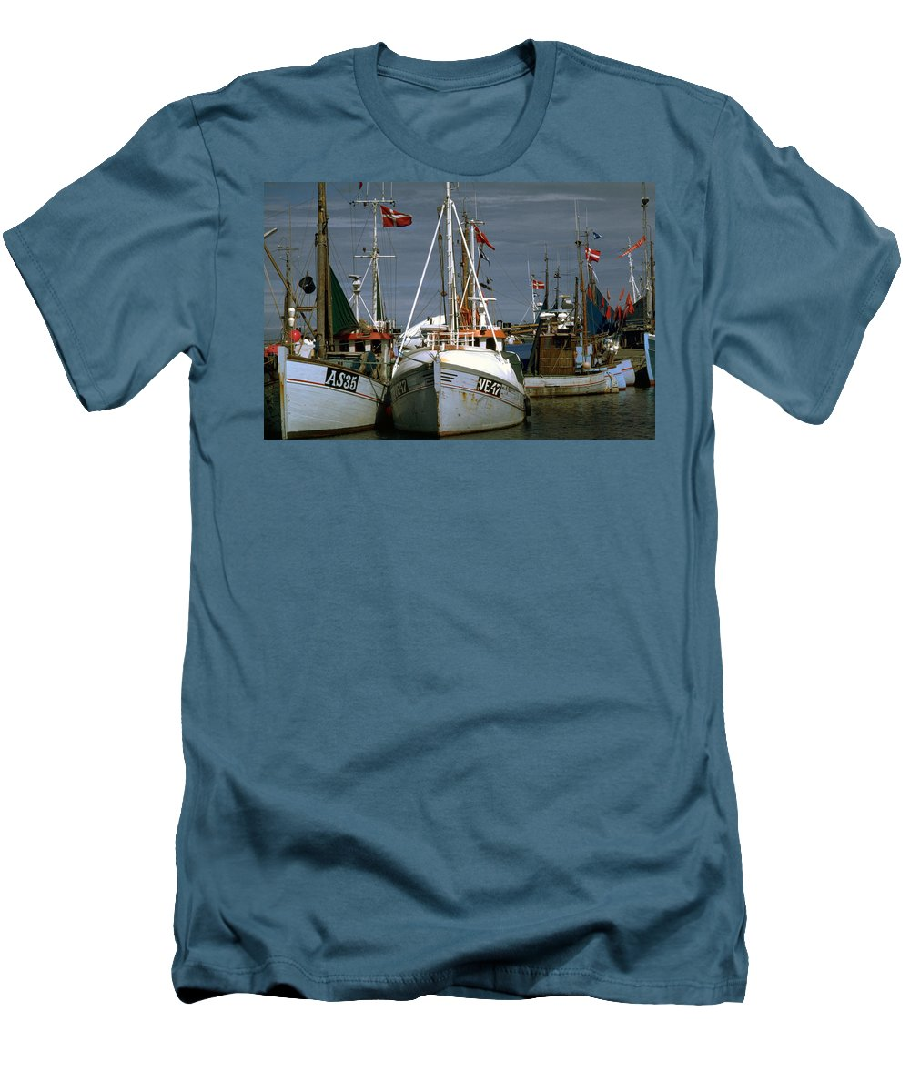 Scandinavian Men's T-Shirt (Athletic Fit) featuring the photograph Scandinavian Fisher Boats by Flavia Westerwelle