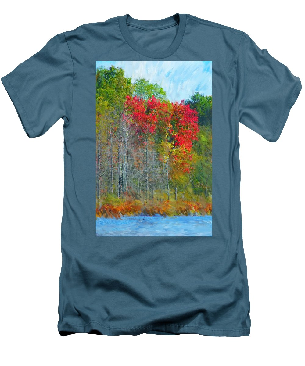 Landscape Men's T-Shirt (Athletic Fit) featuring the digital art Scarlet Autumn Burst by David Lane