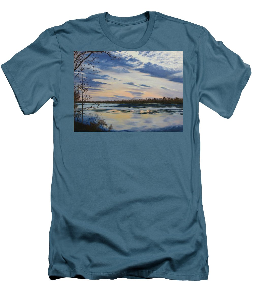 Clouds Men's T-Shirt (Athletic Fit) featuring the painting Scenic Overlook - Delaware River by Lea Novak